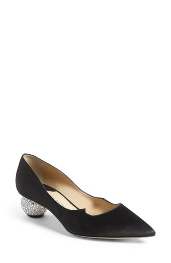 Paul Andrew Ankara Crystal Embellished Pump, Black