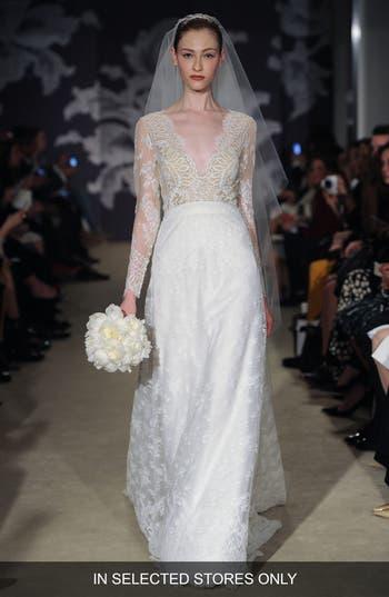 Carolina Herrera Claudette V-Neck Long Sleeve Lace A-Line Dress
