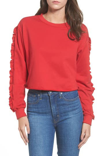 Women's Soprano Ruffle Trim Sweatshirt, Size X-Small - Red