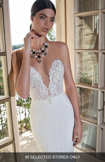 Berta Plunging V-Neck Strapless Lace Dress