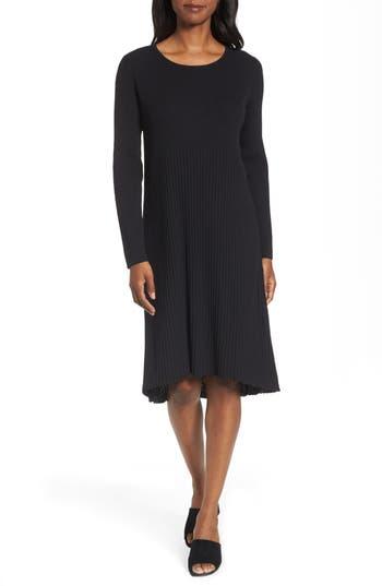 Eileen Fisher Ribbed Wool Sweater Dress, Black