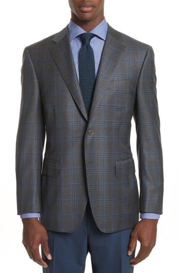 Big & Tall Canali Classic Fit Plaid Wool Sport Coat, Grey