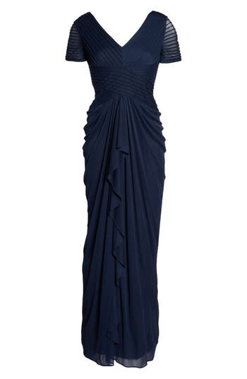 Adrianna Papell Draped Mesh Gown, Blue