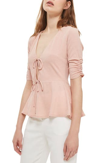 Women's Topshop Textured Tie Front Peplum Top
