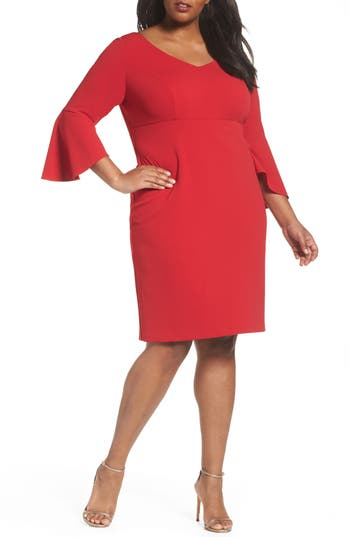 Plus Size Alex Evenings Bell Sleeve Sheath Dress, Red