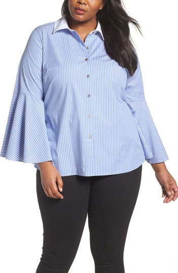 Plus Size Women's Vince Camuto Bell Sleeve Cotton Shirt