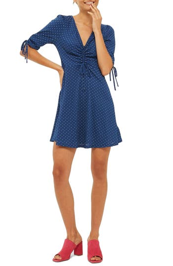 Topshop Polka Dot Tea Dress, US (fits like 0) - Blue