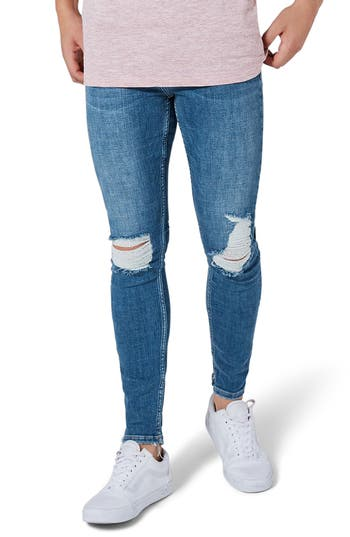Topman Arthur Ripped Stretch Skinny Jeans, Blue