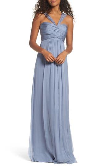 Amsale Corbin Crinkled Chiffon Empire Gown, Grey