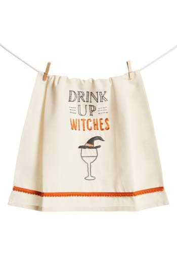 Primitives By Kathy Drink Up Witches Dish Towel, Size One Size - White