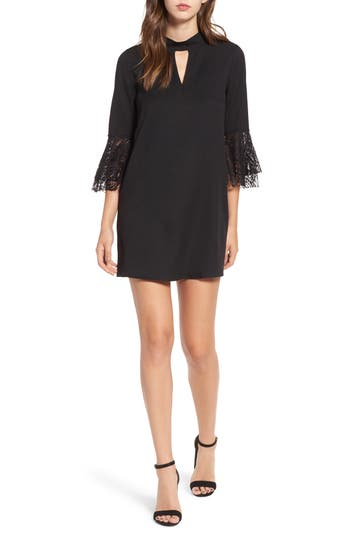 Everly Lace Trim Bell Sleeve Dress, Black