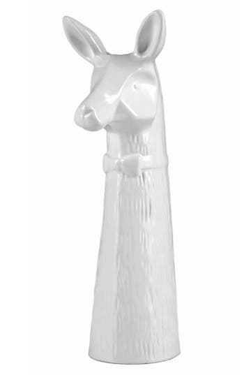 Easy, Tiger Llama Ceramic Bud Vase, Size One Size - White