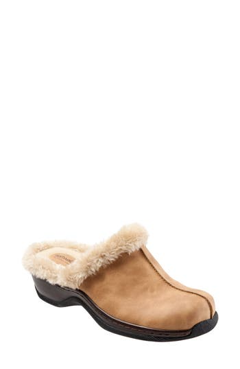 Softwalk Abigail Clog With Faux Shearling Trim, Brown