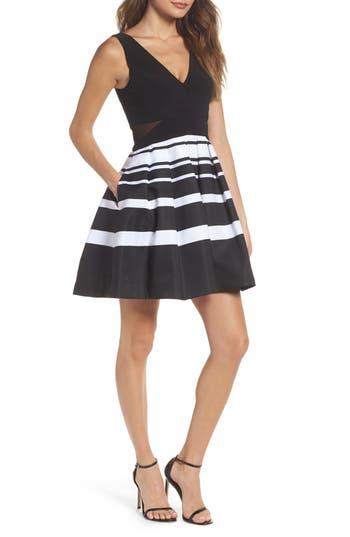 Xscape Stripe Fit & Flare Dress, Black