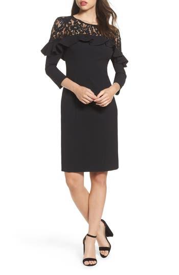 Eliza J Lace Yoke Sheath Dress, Black