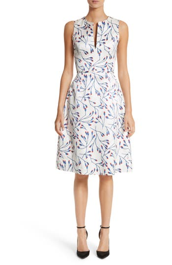 Carolina Herrera Floral Split Neck Fit & Flare Dress, Ivory
