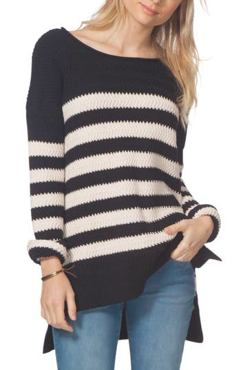 Women's Rip Curl Coast Of Maine Stripe Sweater, Size X-Small - Black