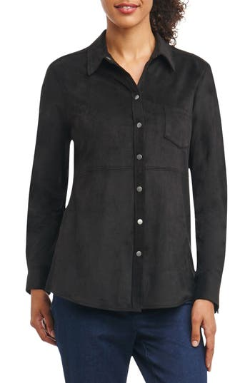Foxcroft Jena Faux Suede Shirt, Black