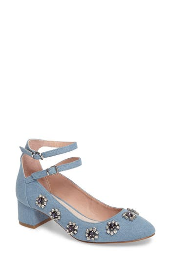 Topshop Jaida Crystal Embellished Pump - Blue