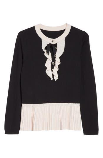 Women's Kate Spade New York Pleated Peplum Sweater, Size XX-Small - Black