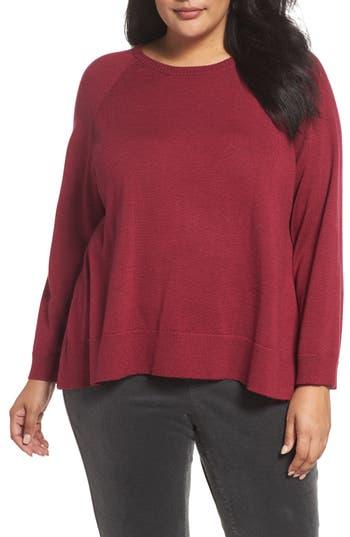 Plus Size Eileen Fisher Round Neck Merino Sweater, Red