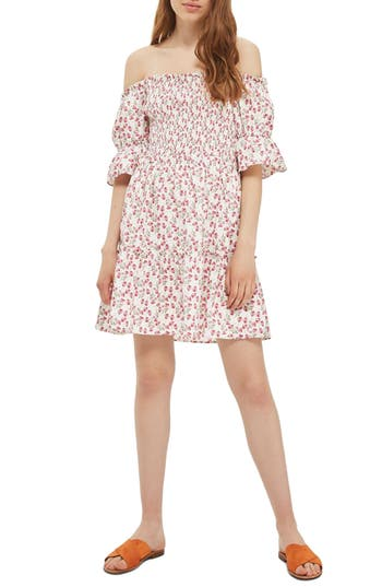 Topshop Liberty Print Off The Shoulder Dress, US (fits like 0) - White