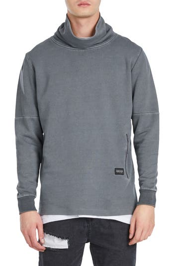 Zanerobe Mock Neck Sweatshirt, Grey