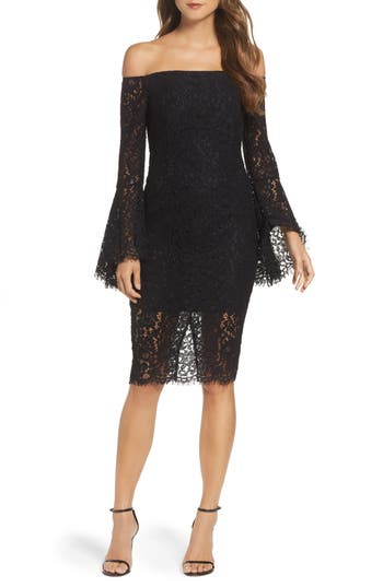 Bardot Solange Corded Lace Sheath Dress, Black