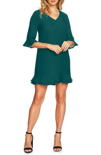 Women's Cece Kate Ruffle Shift Dress, Size 0 - Green