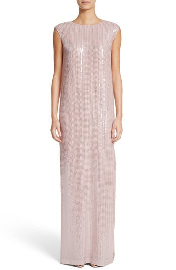 St. John Evening Sequin Silk Georgette Column Gown, Pink