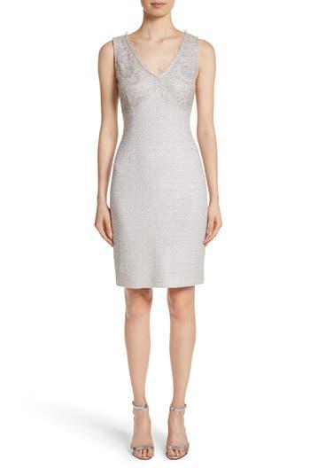 St. John Collection Metallic Eyelash Knit Dress, Grey