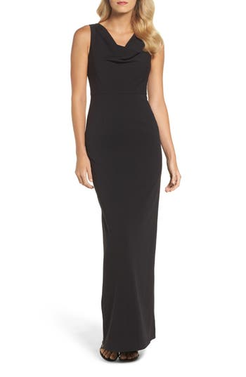 Adrianna Papell Cowl Neck Embroidered Back Gown, Black