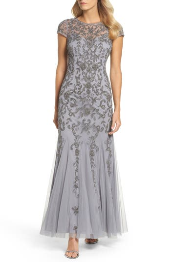 Adrianna Papell Beaded Godet Trumpet Gown, Metallic