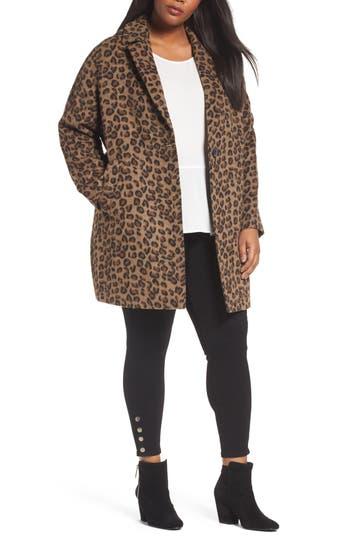 Plus Size Halogen Wool Blend Coat, Beige