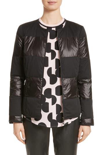 St. John Collection Reversible Dot Print Matte & Shiny Jacket, Black