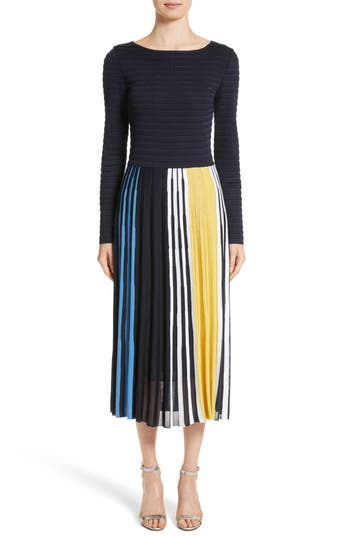 St. John Collection Multicolor Ombre Placed Stripe Knit Dress, Blue