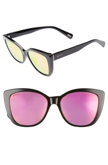 Women's Diff Ruby 54Mm Polarized Sunglasses - Black/ Blue