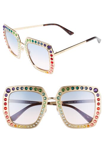 Women's Gucci 52Mm Square Sunglasses - Gold/ Blue