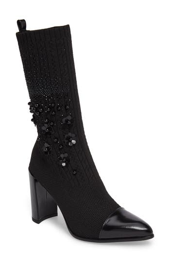 Stuart Weitzman Sockhop Embellished Boot, Black