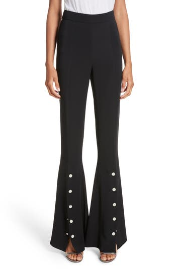 Cushnie Et Ochs Emma Front Snap High Waist Flare Pants, Black