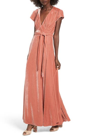 Women's Tularosa Sid Velvet Wrap Maxi Dress, Size X-Small - Pink