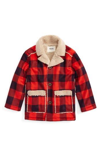 Boy's Hatley Faux Shearling Flannel Jacket, Size 4 - Red