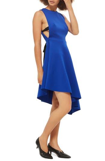 Topshop Lace-Up Back Asymmetrical Dress, US (fits like 0-2) - Blue