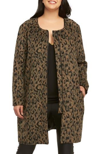 Plus Size Women's Tart Ashton Leopard Print Coat, Size 1X - Brown