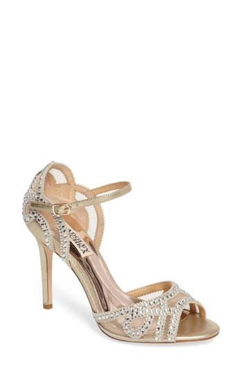 Badgley Mischka Embellished Mesh Sandal, Metallic