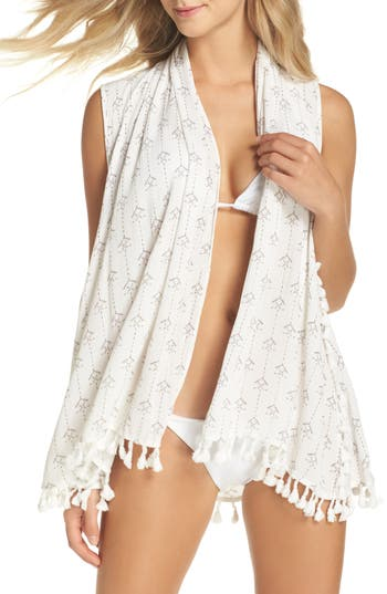 L Space Ocean Drive Native Cover-Up Vest, Ivory
