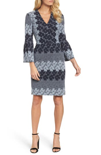 Maggy London Jacquard Bell Sleeve Dress, Burgundy