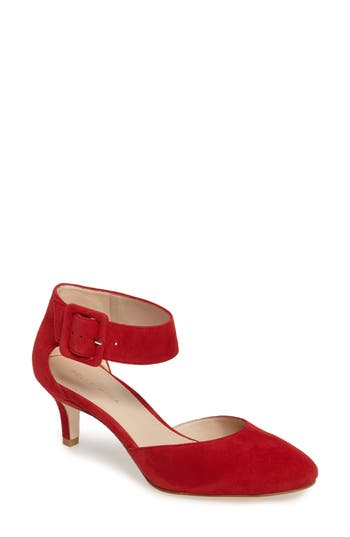 Pelle Moda Ankle Strap Pump, Red
