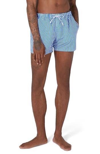 Topman Stripe Swim Trunks, Blue
