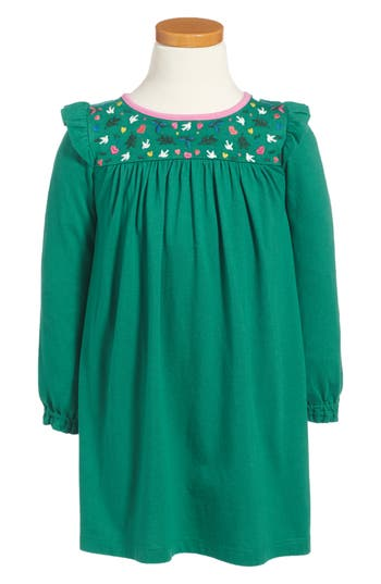 Girl's Mini Boden Frill Jersey Dress, Size 4-5Y - Green